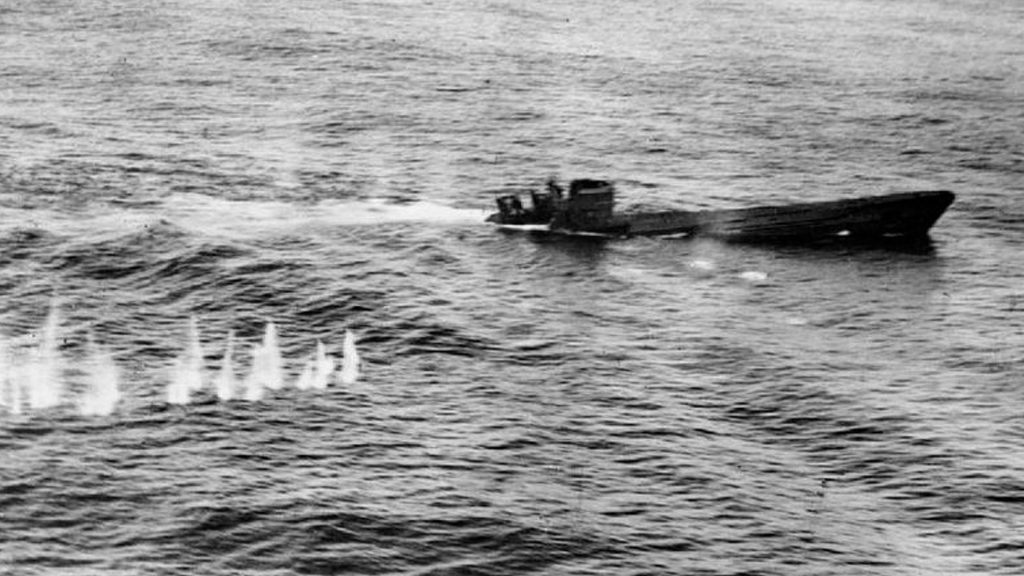 A U Boat - U426 sinking after being attacked by a Sunderland.